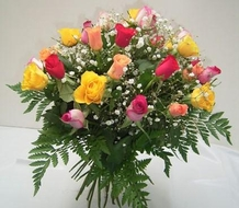 Bouquet de 20 roses multicolores