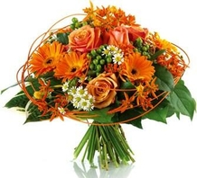 Bouquet rond ton orange